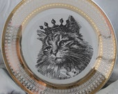 Gold or Silver Cat Plate, Cat Dinnerware Dish, Formal Tableware, Foodsafe, Cat Crown Plate,  Feline Dish, Cat China, Payment Plans Available