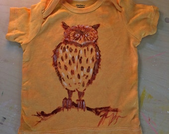 Golden Owl 12 Month Baby Tshirt - Hand Dyed and Painted