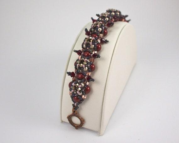 Photo: Maroon Bracelet, Edgy Jewelry, Fashion Jewelry, Glam Punk, Spike Bracelet, Beaded Bracelet Set, Dagger Earrings, Gothic Jewelry, Gunmetal by andreaturinijewelry