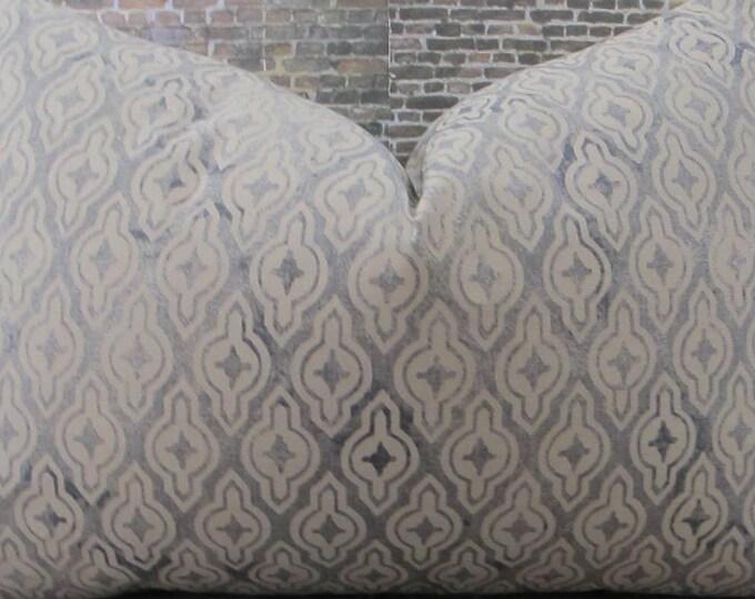 Designer Pillow Cover - 12 x 16, 12 x 18 -Gray and Tan Geometric KH