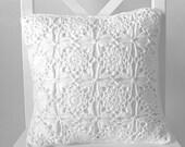 White crochet cushion cover, organic cotton cushion cover