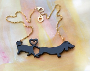 Statement necklace, Cat and Dog necklace, Valentine's gift, dachshund dog, black cat ,love necklace, Cat heart dog, animal jewelry