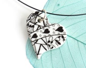 Heart pendant - Valentines gift for her, porcelain necklace, black & white, zentangle jewelry, gift for girlfriend, wife, women, love token