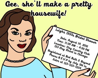 1950s Housewife Themed Bridal Shower Invitations PDF to Print Your Own - 1950s Bridal Shower