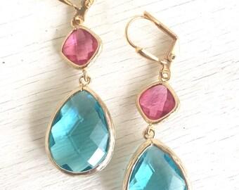 Aquamarine and Fuchsia Dangle Earrings in Gold. Drop Earrings. Bridesmaids Earrings. Gift. Wedding Jewelry. Ruby Dangle Earrings. Gift.