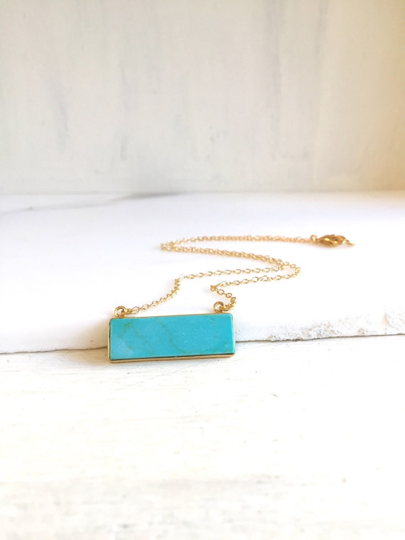 Simple Gold Bar Necklace.  Everyday Gold Bar Turquoise Necklace. Dainty Gold Bar Necklace. Layering Necklace. Jewerly Gift for Her.