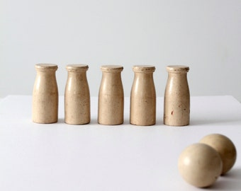 vintage milk bottle carnival game, table top bowling, skittles