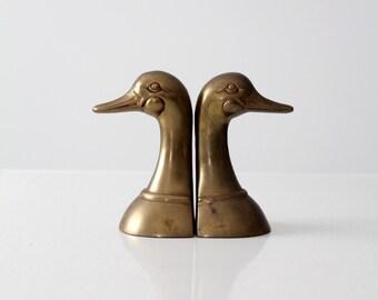 mid-century brass duck bookends, brass bird book ends