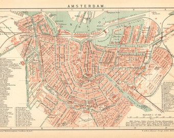1894 Antique City Map of Amsterdam