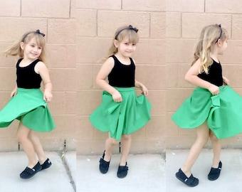 Green Girls Retro Skirt ... 37 Colors and 22 Prints ... Disneybounding, Rockabilly Kid, Family Photos, Halloween Costume
