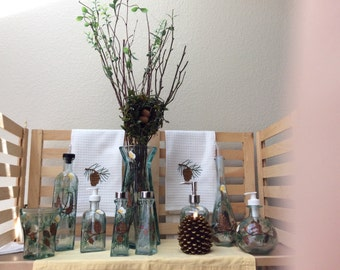 Hand Painted Recycled Glass in Pine Cone Designs , accents for home