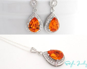 Orange Earrings and Necklace Set, Swarovski Bridal Jewelry, Fall Jewelry for Brides, Fall Wedding Jewelry, Cubic Zirconia Bridal Jewelry Set