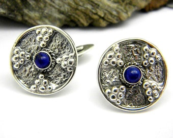 Stone cufflinks sterling silver and lapis lazoulis, Cross cuff link granulation pattern antique style, solid silver heavy disc cufflink