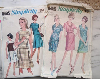REDUCED Lot of 2 Vintage 1960s Sewing Patterns, Lovely Women's Dress Variations, Simplicity 6459, 6495, size 16, 16.5