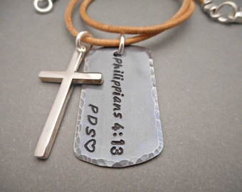 Mens Cross Necklace - Cross Jewelry - Cross Pendant - Custom Dog Tag Necklace - Sterling Silver Cross - Leather Cord Necklace - Gift Idea