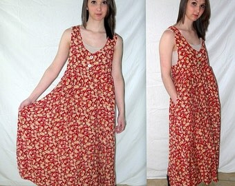 Courtney Dove .. Courtney Dove ... vintage 90s maxi dress / floral daisy rayon / 1990s  festival grunge / long sundress jumper / S M