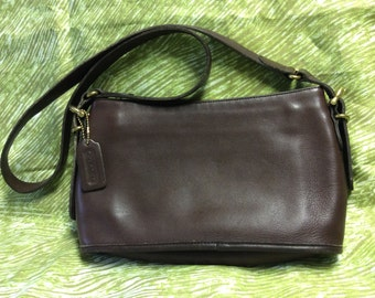 Elegant Mahogany Leather Vintage Coach Handbag