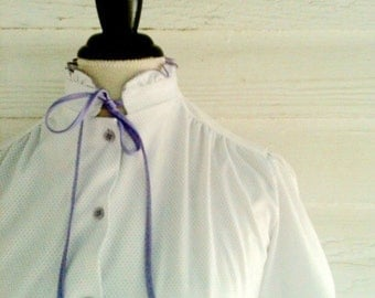 Vintage 70s POLKA DOT Blouse - White and Lavender with Neck Tie and Collar Ruffle