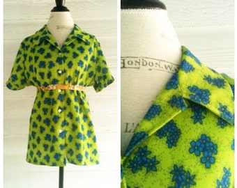 Vintage Floral Shrit - 60s 70s LIME Green and Blue Floral Retro Shirt