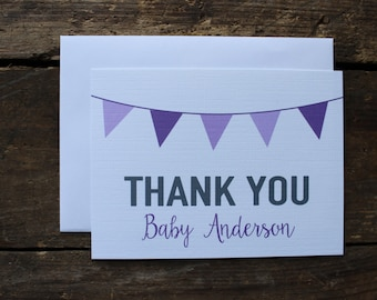 Custom Baby Shower Thank You Cards // Girl Shower // Purple Shower // Purple Personalized Thank you Note Set