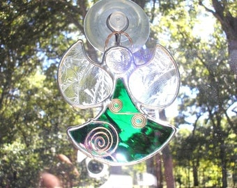 LT Stained glass green Angel sun catcher light catcher made with iridescent green clear glass and copper accents