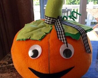 "Halloween Soft Pumpkin with Eyes Handmade 11"" x 13"" Decoration Table Top"