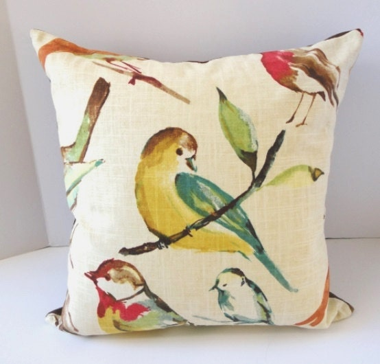 Linen Pillows / Birds / Decorative Pillow / 18 by SewDevineDesigns