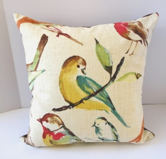 Decorative Pillows With Birds : Linen Pillows / Birds / Decorative Pillow / 18 by SewDevineDesigns