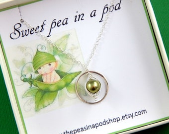 Pea Pod Necklace, One Pea In A Pod Necklace, Eternity Necklace, Sweet Pea In A Pod Necklace, Choose Your Color Pearl, Gift Boxed Necklace