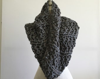 Handknit Ultra Bulky Grey Cowl - Wool Blend Yarn - Ready to Ship