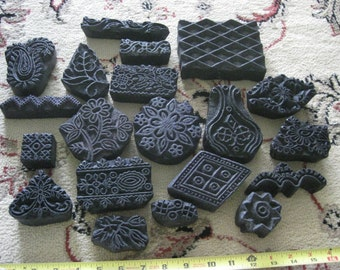Lot of Assorted Vintage Wood Stamps for Clay or Fabric stamping