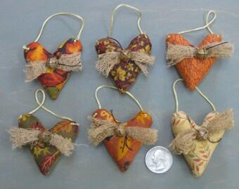 Small Hanging Fall Hearts - Set of  6 - Primitive Mini Heart Ornaments -Stuffed Fabric - Bridal Shower - Wedding -Anniversary - Sweetest Day