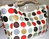 Large Bella Bag Made With Multi Coloured Spot Print Oilcloth