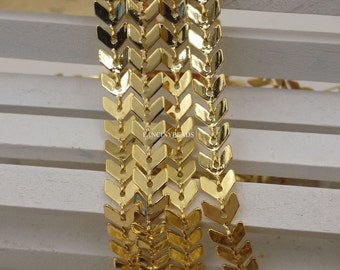 gold plating over brass 10 feet fantastic  chevron chain  F1632
