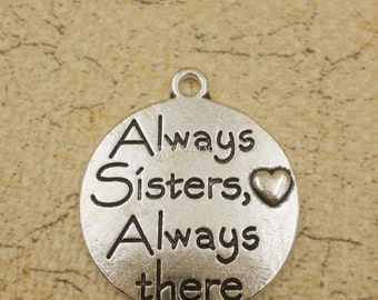 new design carved  always sisters charms 12 pcs-F1663