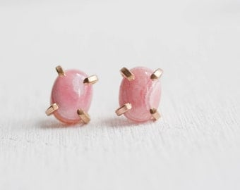 Rhodochrosite Earrings | 14k Gold Fill | Prong Set