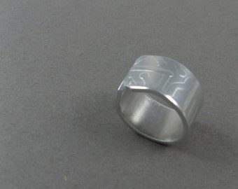 Circuit Ring - Minimalist Modern Aluminum Ring for Techie Geek with Subtle Computer Circuit Board Pattern - Size 7