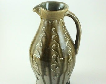 Handmade Stoneware Pottery Blue Green Pitcher (YCP622)