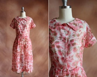 vintage 1950's sheer pink & green floral chiffon pleated dress with collar / size s