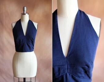 vintage 1950's navy blue cotton cropped halter top / size s - m