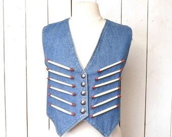 Cropped Denim Vest Bone Bead Button Up Vintage Early 90s Tribal Southwest Waistcoat Small