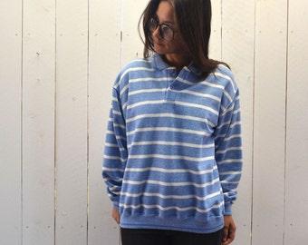 Striped Pullover Sweatshirt 80s Vintage Baby Blue White Collared Shirt