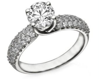 Diamond Engagement Ring White Gold- Engagement Ring Diamond-Moissanite Engagement Ring- Art Deco Vintage Round Diamond Ring 14 K White Gold
