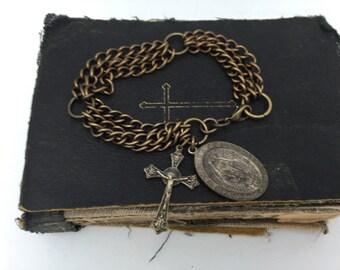 Vintage Religious Bracelet Cross Bracelet Religious Charm Bracelet