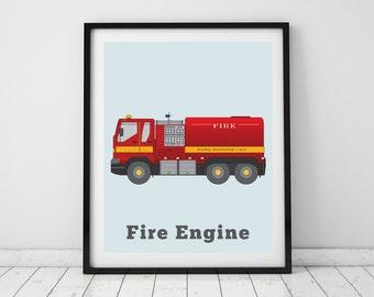 Kids' room print, Fire Engine | Childrens art nursery prints | Fire Engine decor, rescue vehicles | Playroom wall decor, truck print