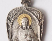 """RESERVED for Susanne Vintage Scapular Sacred Heart of Jesus with Gold Halo Silver Religious Medal Pendant on 18"""" sterling silver rolo chain"""