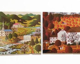 Pair of Charles Wysocki Litho Print Metal Plaques / Trivets / Donald Art Company
