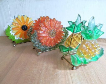 Set of 3 Vintage Lucite Resin Napkin Holders / Letter Holders / Instant Collection