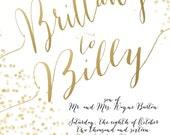 DIGITAL LISTING - Gold Foil Look Wedding Invitations - Confetti Polka Dot Wedding Invitation - Custom Listing for Brittany Cannon