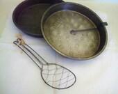 """Vintage Cake Baking Set 3 Piece - Two Ovenex 8"""" Round Cake Pans - Wire Batter Whisk - Three Piece Set"""